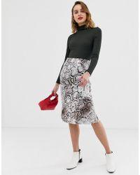 River Island - Bias Cut Satin Slip Midi Skirt In Snake Print - Lyst