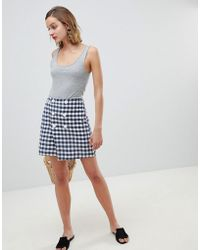 Mango - Double Breasted Check Skirt In Multi - Lyst