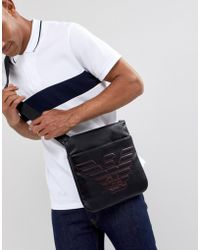 Emporio Armani - Contrast Stitch Logo Large Flight Bag In Black - Lyst