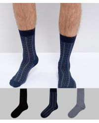 Socks In Gift Box In Cable Knit With Stripe Cable Detail 3 Pack - Multi Asos Eastbay Online Free Shipping Pictures HZJbS8ov3