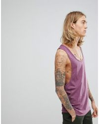 ASOS - Design Singlet With Extreme Racer Back In Purple Marl - Lyst