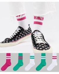ASOS - Tube Style Socks In Summer Weight In Bold Green & Pinks 5 Pack - Lyst