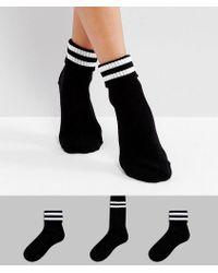 New Look - 3 Pack Sports Rib Ankle Socks - Lyst