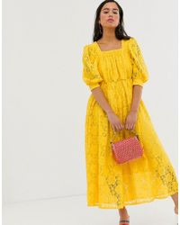 Sister Jane Midaxi Smock Dress In Lace - Yellow