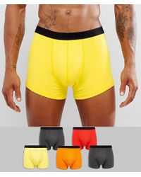 ASOS - Trunks In Multi Colours With Black Waistband 5 Pack Save - Lyst