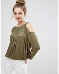 B.Young - Lace Insert Cold Shoulder Blouse - Lyst