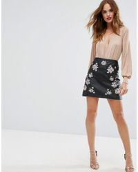 Lipsy - Pu Mini Skirt With Embroidery - Lyst