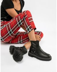 ASOS - Acolade Premium Leather Chunky Biker Boots - Lyst