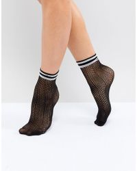 Pieces - Herringbone Sock With Varsity Trim - Lyst