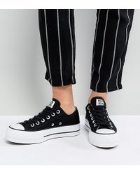 63733e71bbfc Converse - Chuck Taylor All Star Platform Ox Trainers In Black - Lyst