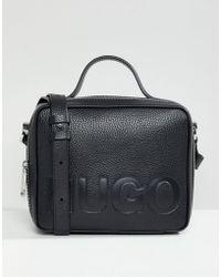 HUGO - Logo Box Bag In Black - Lyst