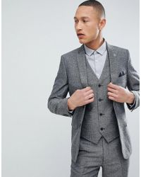 French Connection - Slim Fit Grey Herringbone Suit Jacket - Lyst