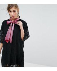 Sister Jane - Tie Neck Mini Dress In Lace - Lyst