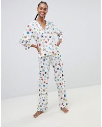 ASOS - Doodle Star Print Traditional Pant Set In 100% Modal - Lyst