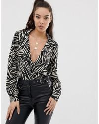 ASOS - Wrap Front Body In Zebra Animal Print With Long Sleeves - Lyst
