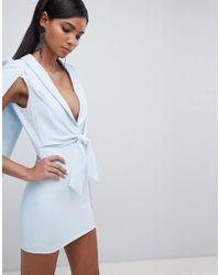 Lavish Alice - Gathered Tie Waist Cape Dress - Lyst