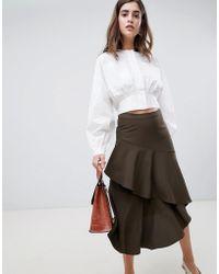Gestuz - Vermine Asymmetric Tiered Midi Skirt - Lyst