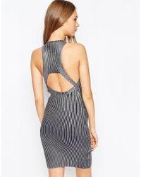 ASOS - Premium Dress In Metallic Foil Rib Knit - Lyst