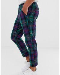 ASOS - Pantalones tapered a cuadros escoceses de - Lyst