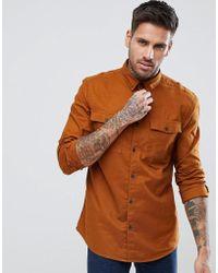 Bershka - Regular Fit Brushed Shirt In Camel - Lyst