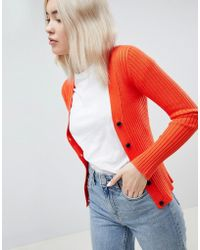 ASOS - Design Cardigan In Fine Knit Rib With Buttons - Lyst