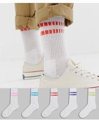 ASOS - Sport Socks With Retro Bright Design 5 Pack - Lyst