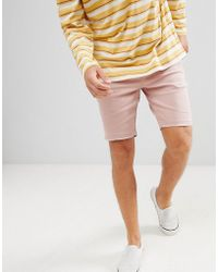 Bershka - Slim Fit Denim Shorts In Pink - Lyst
