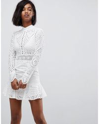 Lioness - High Neck Cutwork Lace Mini Skater Dress - Lyst