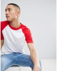 Mango - Man Raglan T-shirt In Red - Lyst
