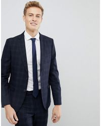 Moss Bros Moss London Skinny Suit Jacket In Check
