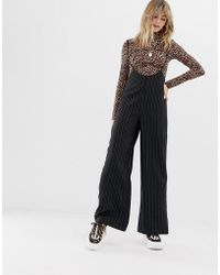 Reclaimed (vintage) - Inspired Trousers With Suspenders In Pinstripe - Lyst
