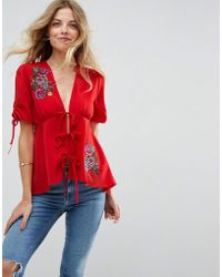 ASOS | Embroidered Blouse With Tie Front | Lyst