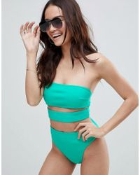 ASOS - Neoprene High Leg Waist Bikini Bottom In Bali Green - Lyst