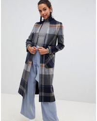 585df343ce37 Helene Berman - Windowpane Check Swing Coat In Wool Blend - Lyst