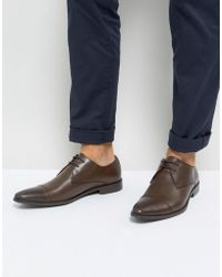 Frank Wright - Toe Cap Derby Shoes In Brown Leather - Lyst