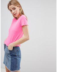 Hollister - Crop Scallop Hem T-shirt - Lyst