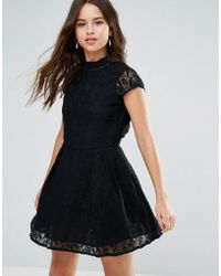 Louche - Nichole High Neck Lace Dress - Lyst