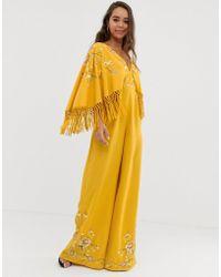 ASOS Kimono Sleeve Fringe Embroidered Jumpsuit - Yellow
