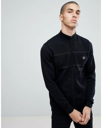 Fred Perry - Textured Zip Through Cardigan In Black - Lyst