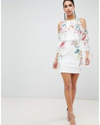 Lipsy - Printed Cape Sleeve Shift Dress - Lyst