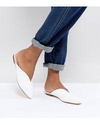 Office - Farah White Leather Slip On Flat Mules - Lyst