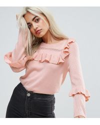 ASOS - Jumper With Frill And Pointelle Detail - Lyst