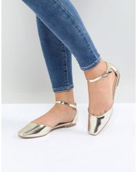 Glamorous - Gold Ankle Strap Flat Shoes - Lyst