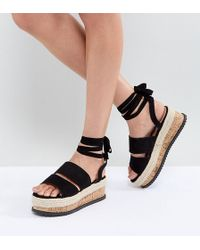 1189fadf0 Lyst - Lost Ink Buckle Espadrille Flat Sandals in Black