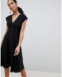 ASOS - Design Fit And Flare Midi Dress With Contrast Stitching - Lyst