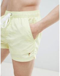 Pull&Bear - Swim Shorts In Yellow With Embroidery - Lyst