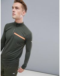 PUMA - Running 1/4 Zip Sweat In Khaki 517010-04 - Lyst