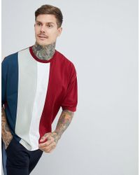 ASOS - Oversized T-shirt With Vertical Colourblock In Burgundy - Lyst
