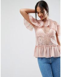 ASOS - Asos Lace Top With Ruffles - Lyst
