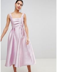 9db7ba3798a2 ASOS - Structured Prom Midi Dress With Square Neck - Lyst